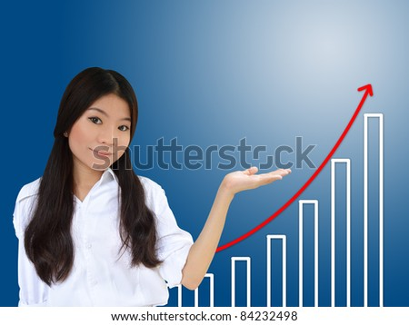 Business woman and a graph showing growth of business - stock photo