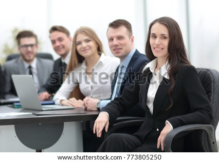 business woman and business team