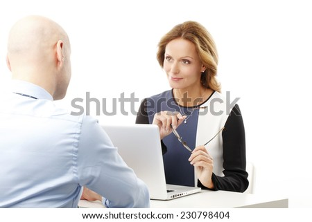 Business woman and businessman consulting. Isolated on white background.