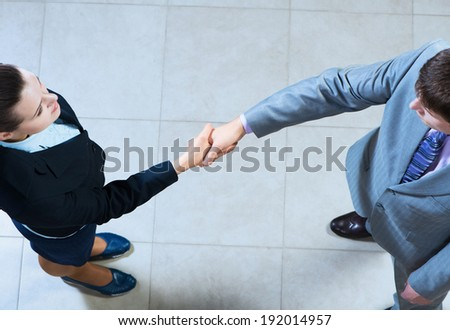 Business woman and businessman shaking hands, reach agreement