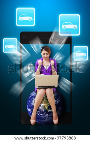 Business woman and Car icon from mobile phone : Elements of this image furnished by NASA - stock photo