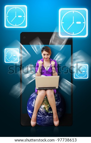 Business woman and Clock icon from mobile phone : Elements of this image furnished by NASA