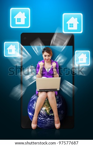 Business woman and House icon from mobile phone : Elements of this image furnished by NASA - stock photo
