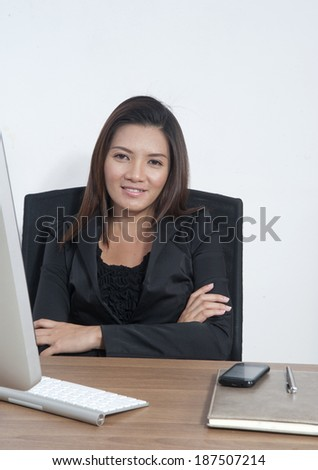 Business woman and laptop in office