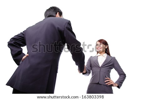 Business woman and man smiling and doing a handshake isolated on white background - stock photo