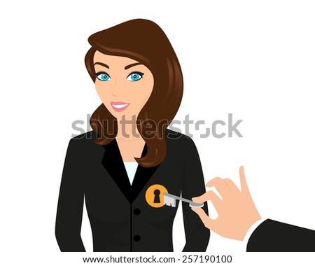 Business woman and managers hand holding a key - stock photo