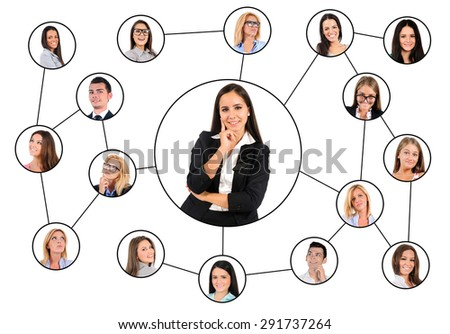 Business woman and many friends connected - stock photo
