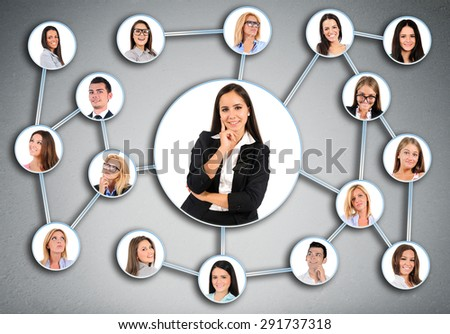 Business woman and many friends connected