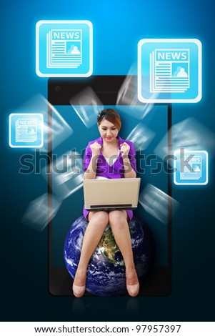 Business woman and News icon from mobile phone : Elements of this image furnished by NASA