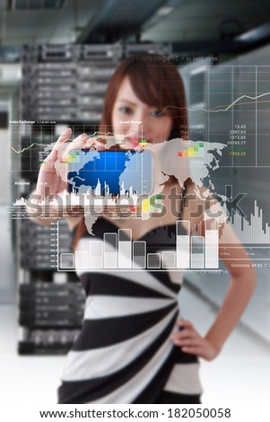 Business woman and smart phone with graph monitor system - stock photo