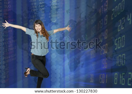 Business woman and stock display. - stock photo