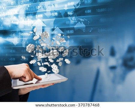 Business woman are checking stock market graph by using digital tablet - stock photo
