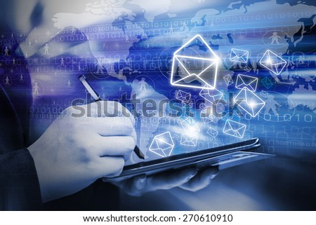 Business woman are sending email marketing by using digital tablet - stock photo