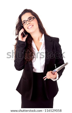 Business woman at the phone - isolated over white - stock photo