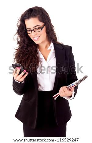 Business woman at the phone - isolated over white