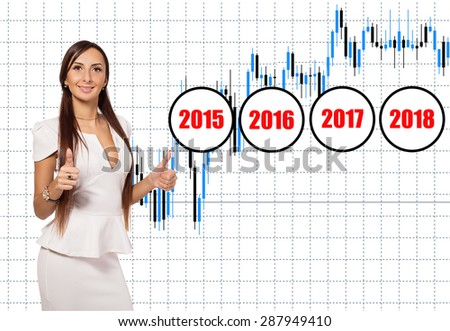 Business woman background financial charts with dynamic growth rates for years. Woman showing thumbs up. Business and financial success. Schedule earnings and revenue for years 2015, 2016, 2017, 2018