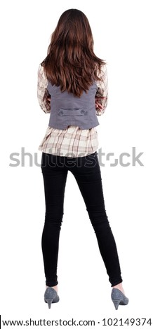 business woman. backside.  standing beautiful brunette . Young girl  looking ahead of yoursel. Rear view people collection.  backside view of person. Isolated over white background. - stock photo