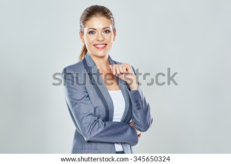 Business woman big toothy smile studio isolated portrait. Pretty female model. Confident professional office worker. - stock photo