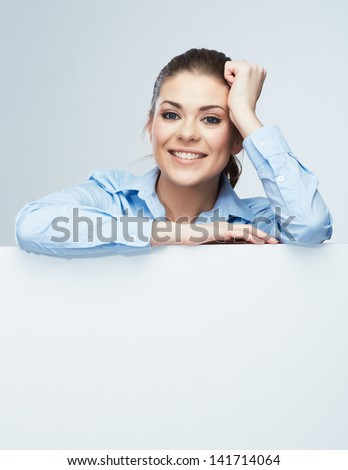 Business woman blank white banner, card isolated studio portrait. Female model poses. - stock photo