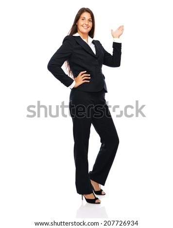 Business woman businesswoman in full length copy space.   Isolated on a white background.  - stock photo