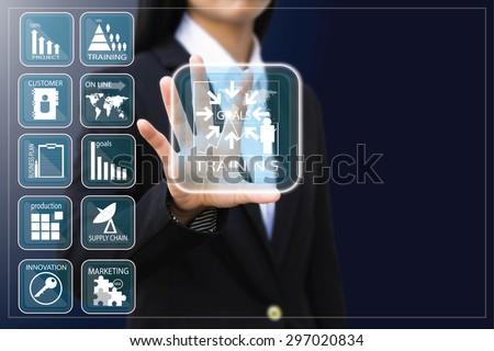 business woman , Businesswoman making presentation - stock photo