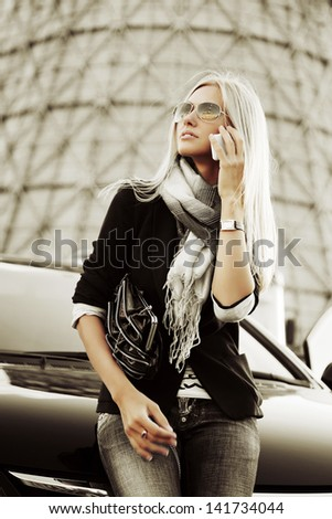 Business woman calling on the phone - stock photo