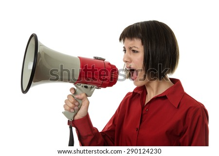 business woman calling out with a  loudspeaker - stock photo