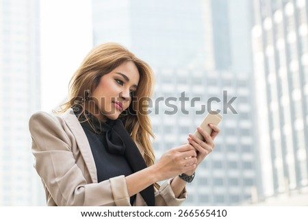 Business woman calling to connect with customer for discuss his business - stock photo