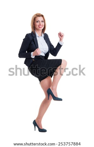 Business woman celebrating success concept on white background - stock photo