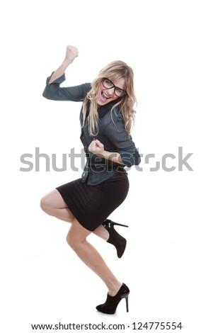 business woman celebrating success triumphant gesture - stock photo