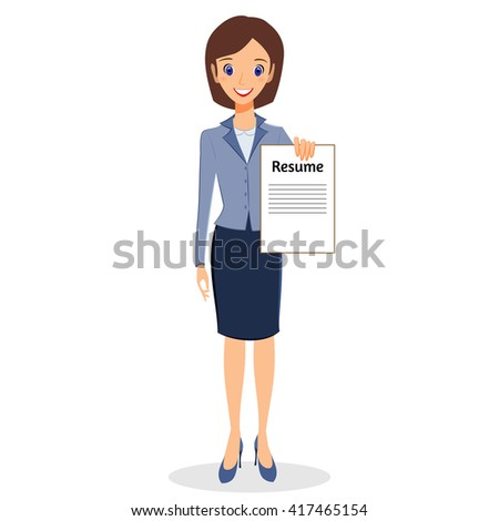 Business woman character . Cheerful smiling business woman character holding resume. Job search concept. Woman business character isolated on white background - stock photo