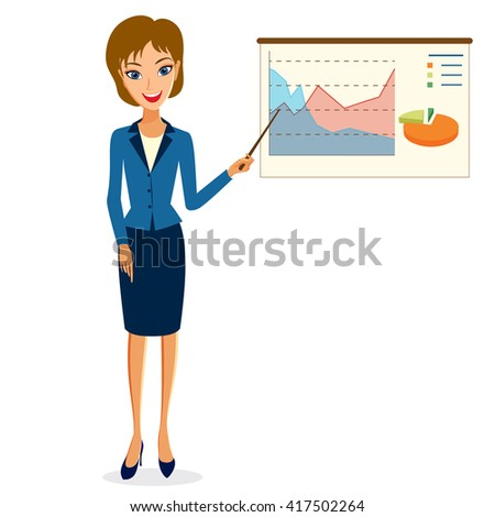 Business woman character . Cheerful smiling business woman character making presentation. Woman business character isolated on white background - stock photo