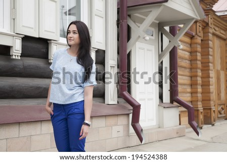 business woman chooses a house