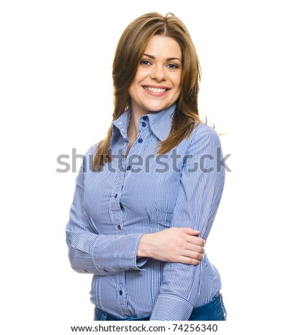 business woman closeup portrait, free space on the image. Copyspace, copy-space on white