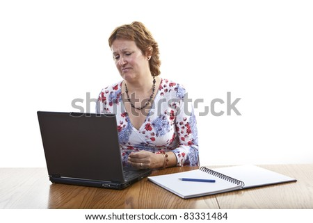 Business woman computer virus bug crash