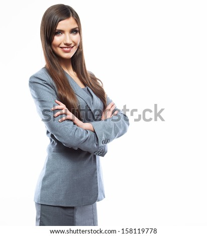 Business woman crossed arms against white background. Female business model portrait. - stock photo