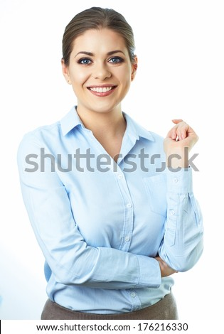 Business woman crossed arms. Isolated white background portrait. - stock photo