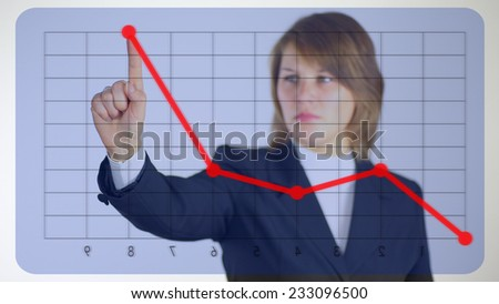 business woman crucial for the virtual screen - stock photo