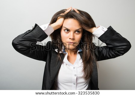business woman Depression - stock photo