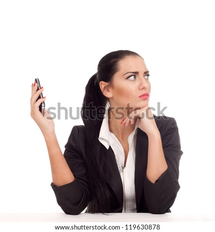 Business woman doesn't want to talk with someone - stock photo