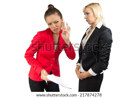 Business woman don't hear enother one  - stock photo