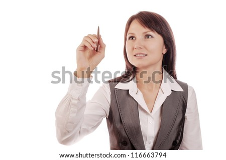 Business woman drawing - stock photo