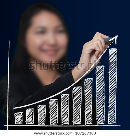 Business woman drawing growth arrow , Business success concept - stock photo