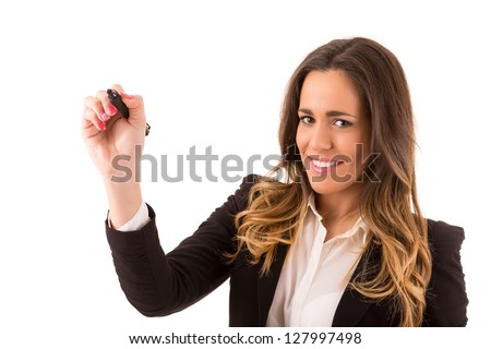 Business woman, drawing on whiteboard, isolated over white