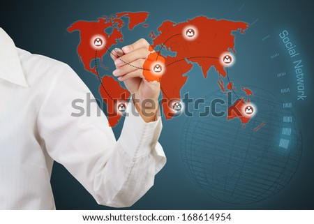 business woman drawing Social Network Concept  - stock photo