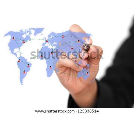 business woman drawing Social Network Concept (selective focus at pen) - stock photo
