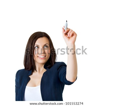 Business woman drawing something - stock photo
