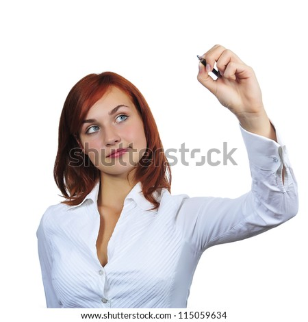 Business woman drawing something, isolated on white background - stock photo