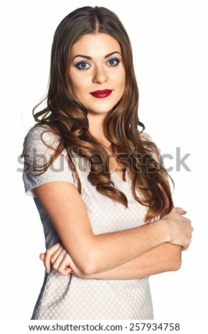 Business woman dressed free. Smiling model in light suit. Long haired model. Isolated portrait.