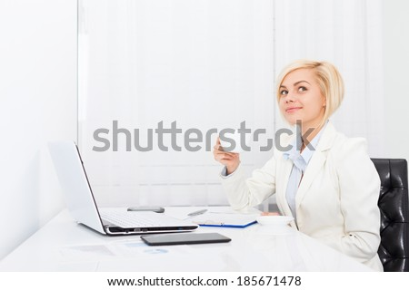 business woman drink coffee at office modern desk, think look up smile, businesswoman break relax workplace day dreaming - stock photo